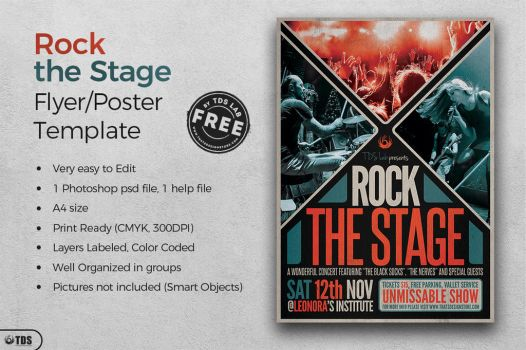 Free Rock The Stage Flyer Template by Thats-Design
