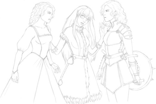Lineart for Reign of Winter illustration by LeilaAscariz