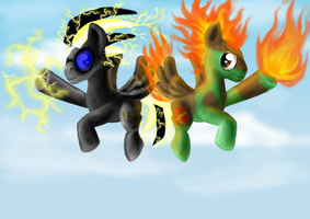 Zap and Camofire by AwesomeBluePony