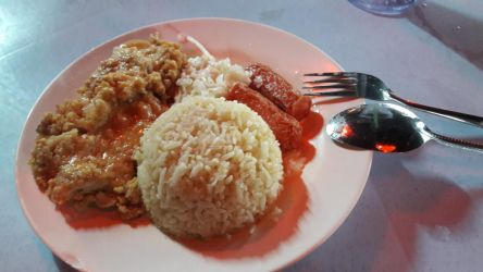 the cheap prices salty egg chicken chop rice by Deviljackies