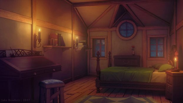 Bedroom [night] by JakeBowkett