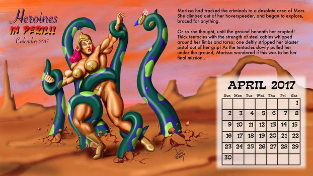 2017 Peril Calendar - April: Marissa of Mars by DavidCMatthews