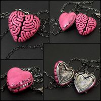 I Heart Brains Locket in pink by True-Crimeberry