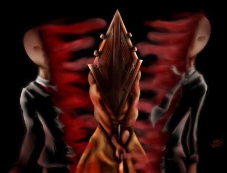 Pyramid head vs Slenderman by Niko-Uchiha