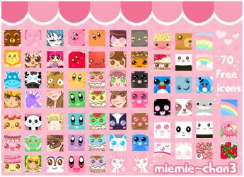 70 free icons by miemie-chan3