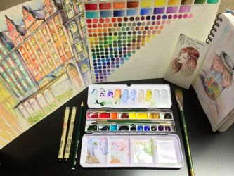 Watercolor palette by JamieTr