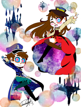 Mabel and  Dipper form Zero Gravity  Chibi by Iamchrisbelacevedo
