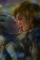 Just a last kiss - Shepard and Liara by Dame-Cruz