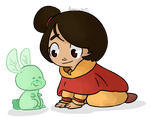 Jinora and Spirit Dragonfly Bunny by Amandoin