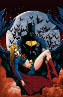 Batman and  Supergirl. by Troianocomics