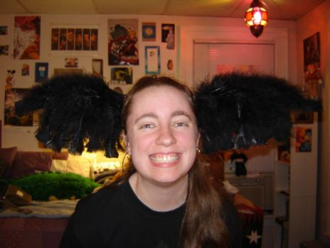 Black Feather Winged Head Band by Jemi-Linked