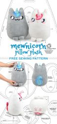 Mewnicorn Kitty Unicorn Plush Sewing Pattern by SewDesuNe