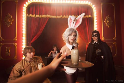 Your drink, sir - Battle Bunny Riven by IscariotElian