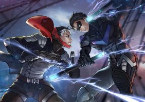 Red Hood VS Nightwing by CalmseerArt