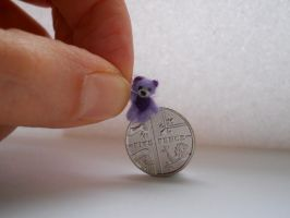 Ooak miniature micro jointed lavender teddy bear by tweebears