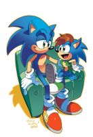 Sonic and Son (Coloring Commission) by herms85