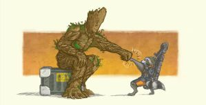 groot and rocket by onkelscrut