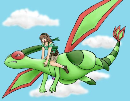 Amber Riding Her Flygon by SweetLogic