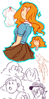 Feminine Tintin Sketchdump by Meadowi
