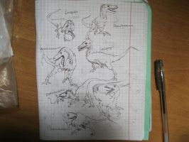Basal theropods sketches by Xiphactinus