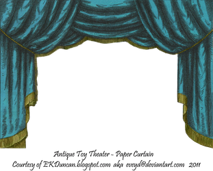 Teal Toy Theater Curtain 2 by EveyD