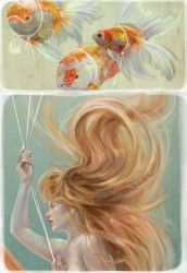Mermaid with Goldfish Balloons - Detail by MissTakArt
