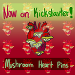 Mushroom Heart Enamel Pins on Kickstarter by wolfbanefoxglove