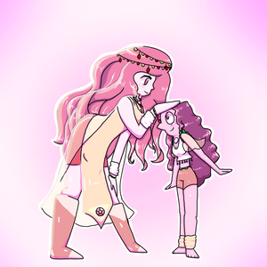 Cherry Quartz and her Pearl -=- Commission by Natidot