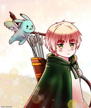 Hetalia young England with Mint Bunny by SUN0627