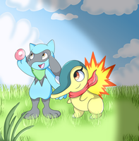 Riolu and Cindy the Cyndaquil by DoraeArtDreams-Aspy