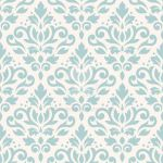 Scroll Damask Pattern Lt Teal on Cream