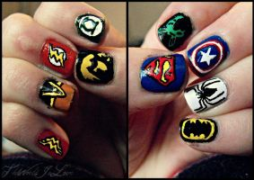 Superhero Nails! by TheWorldIsLove