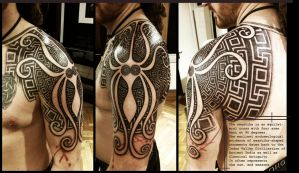 Greek Swastika shoulderpiece by Meatshop-Tattoo