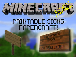 Customizable, Printable, Minecraft Signs! by trebory6