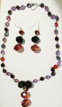 red and purple crystal jewelry set by AnaInTheStars