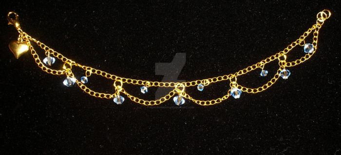 Ice Blue Crystal Chain Anklet by Healersmoon
