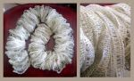 Light grey ruffle lace scarf by KnitLizzy