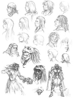 Cat people sketches by Sokil-Su