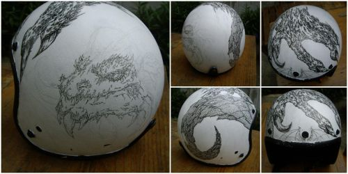 WIP - Dragon Themed Motorcycle Helmet by charcoal-almighty