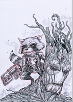 Rocket Raccoon and Groot by Ultrafpc