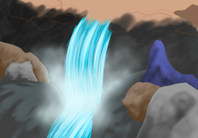 Scenery Painting Waterfall by ZokuArts