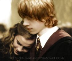 Ron + Hermione at the funeral by KMeaghan