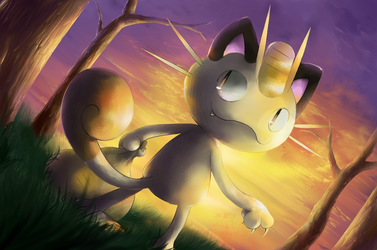 Sunset Meowth by nintendo-jr