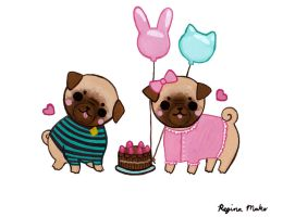 Birthday Pugs by nekofoot