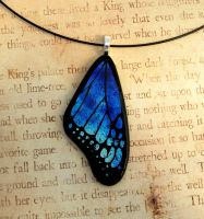 Blue Mix Fused Glass Butterfly Wing by FusedElegance