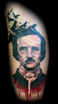 Edgar Allen Poe portrait tattoo by All-Wolff