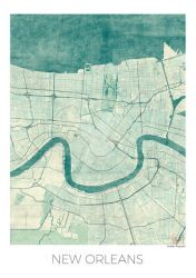 New Orleans Map, US. Blue vintage watercolor by hubertroguski