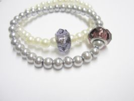 Silver and Off White Pearl Charm Stretch Bracelets by Artisticat86