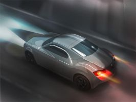 2015 VW Karmann Ghia at night by mikelyden
