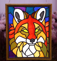 Red Fox Faux Stained Glass (Outdoor) by KiRAWRa